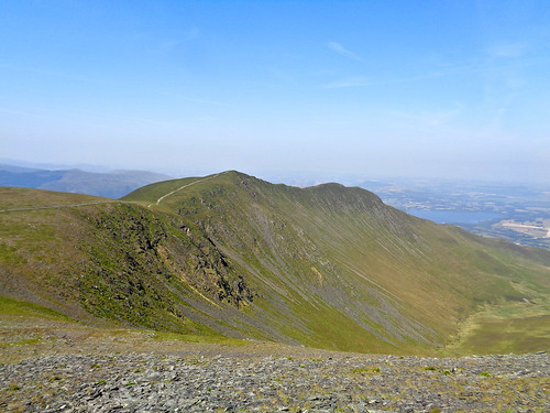 Looking back at the ridge from the slope of Skiddaw