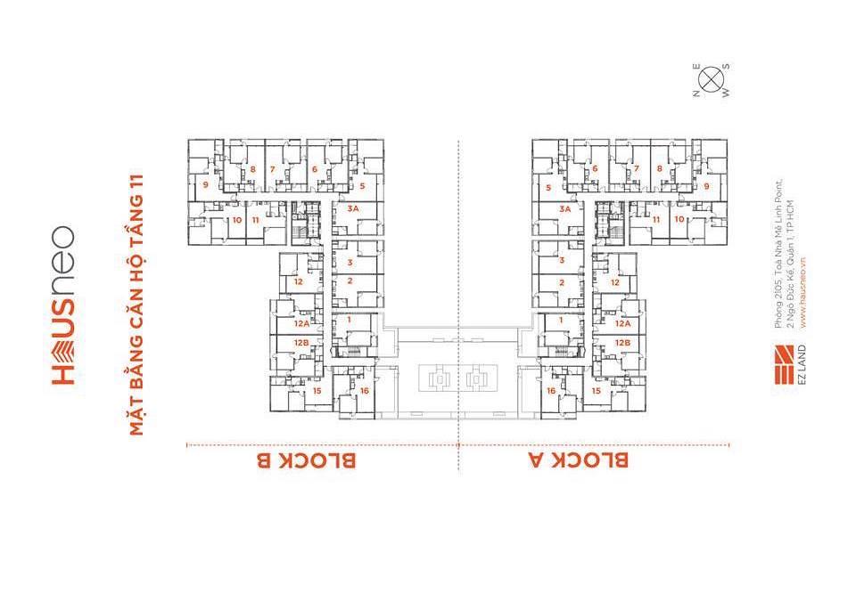 Mặt bằng tầng và thiết kế căn hộ Hausneo 38