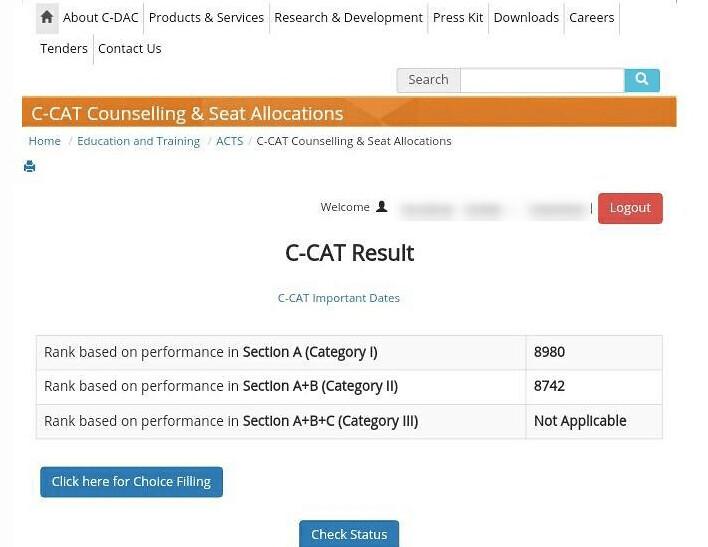 CDAC C-CAT 2018 Result