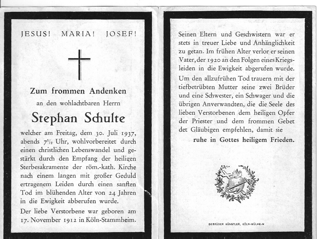 Totenzettel Schulte, Stephan † 30.07.1937