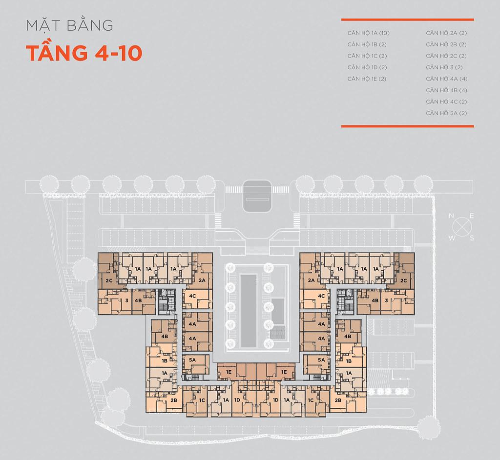 Mặt bằng tầng 4-10 căn hộ Hausneo