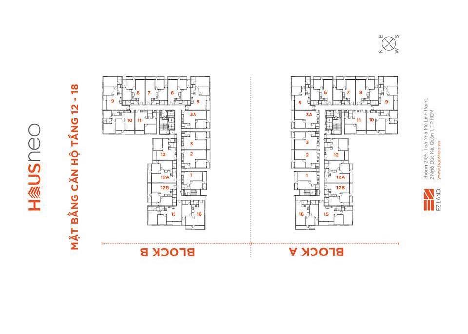 Mặt bằng tầng và thiết kế căn hộ Hausneo 39