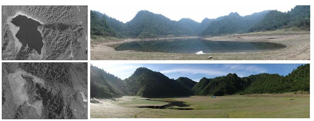 松蘿湖高低水位空照圖及環境照(毛俊傑提供)