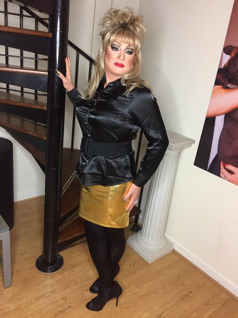 Black Gold Gold Mini Skirt Amp Black Satin Blouse Kaylah