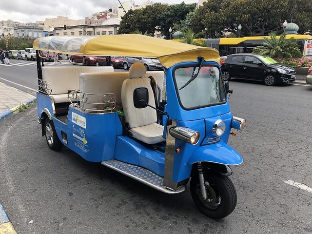 Tuk tuk de Green Trip Canarias con el que nos movimos por Las Palmas de Gran Canaria