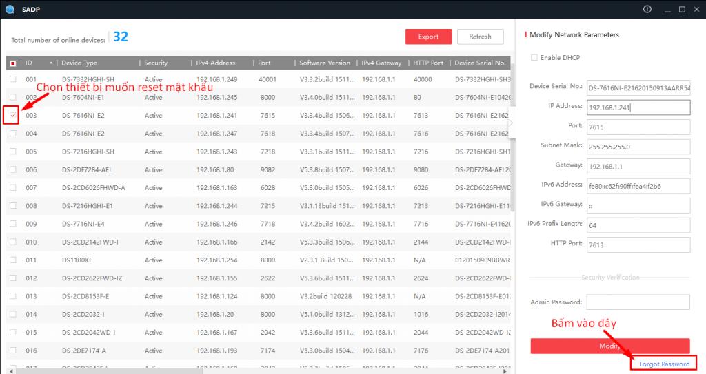 Export ra file XML để Reset mật khẩu HIKVision