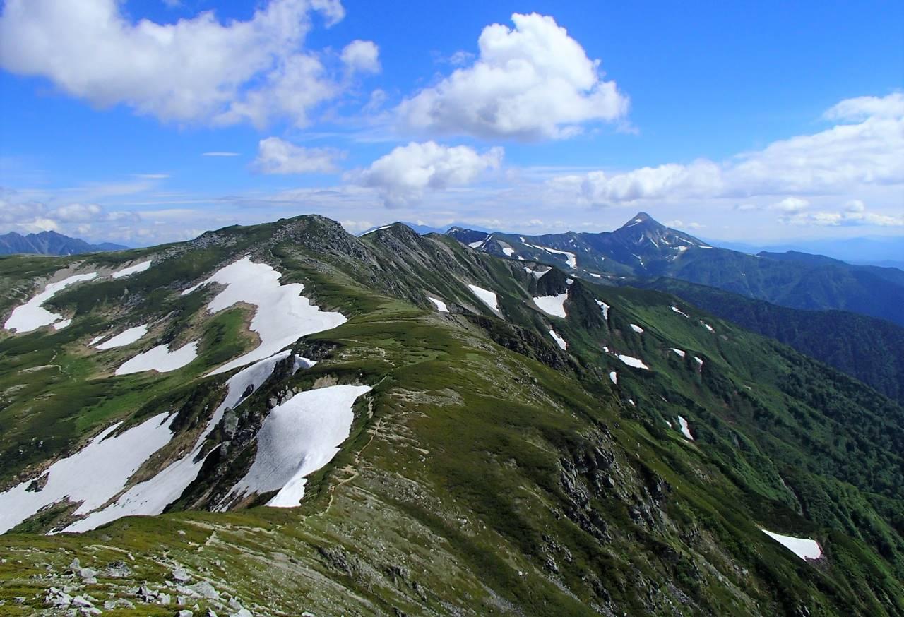 北アルプス 双六岳~笠ヶ岳の稜線