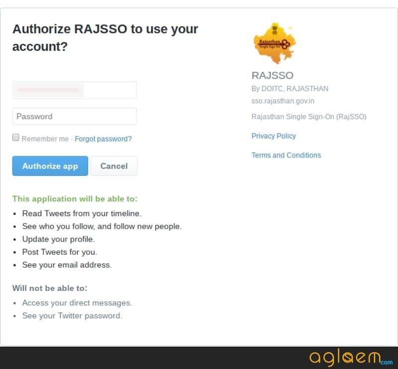 Registration through twiter account