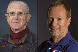 two separate portraits of S. Peter Gary wearing brown checkered shirt and Geoffrey D. Reeves wearing a blue shirt