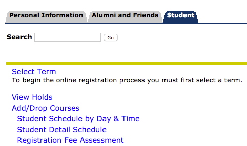 Screenshot of Student Tab screen in PAWS account to add courses