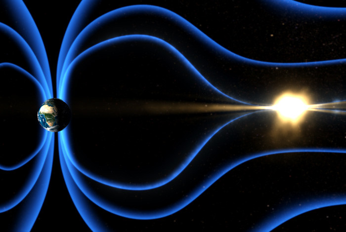 Blue lines showing the magnetic field lines between earth and the sun