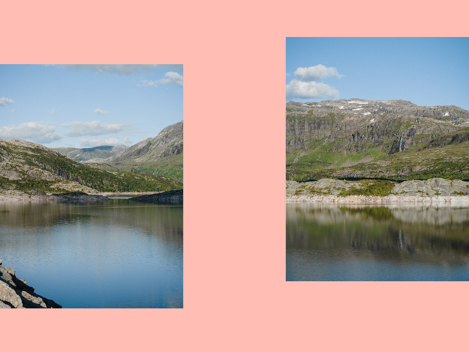 landscape diptych on pink background showing reservoir and mountain landscape