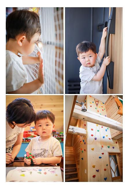 ボルダリングがある新築住宅での家族写真撮影