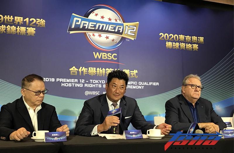 亞洲棒球總會長彭誠浩(左起)、中華棒協理事長辜仲諒、世界棒壘球總會長Riccardo Fraccari 。(記者李心筠/攝)