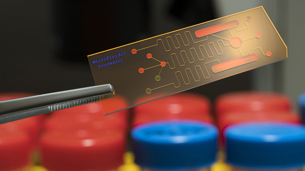 A close up of a microfluidic processor (lab on chip)