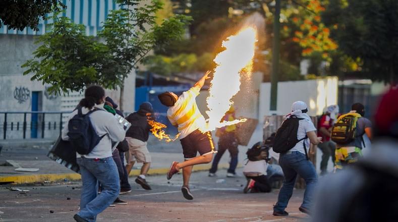 委内瑞拉街头的暴力抗议活动。