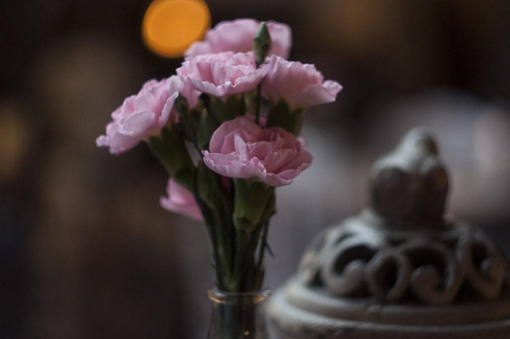 bukiet różowych kwiatów w Trattorii Cyklop, Kraków