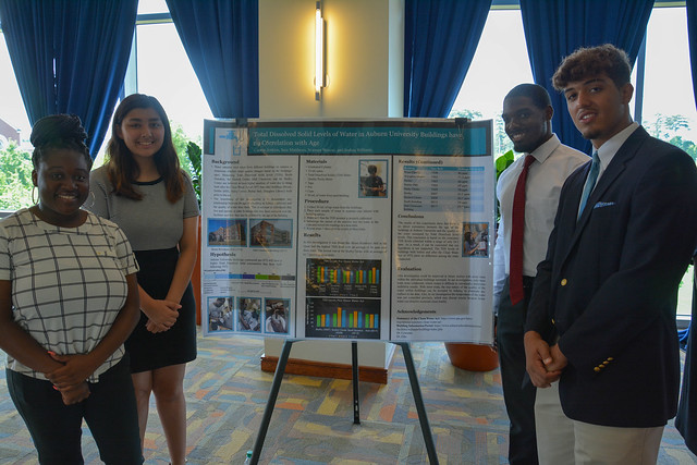 Students present their work on a poster.
