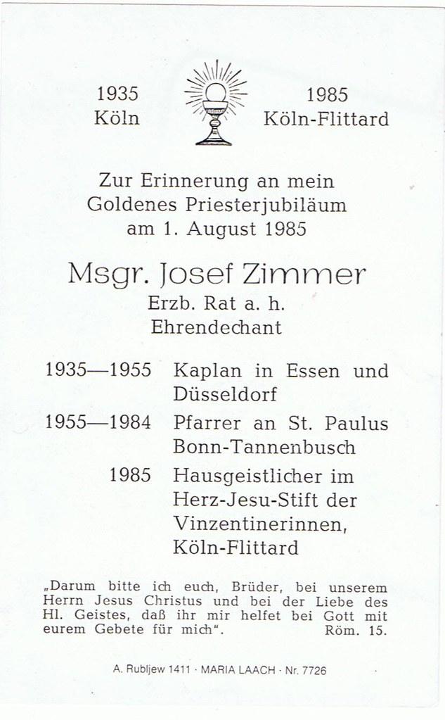 Priesterweihe Zimmer, Josef Monsignore 01.08.1935