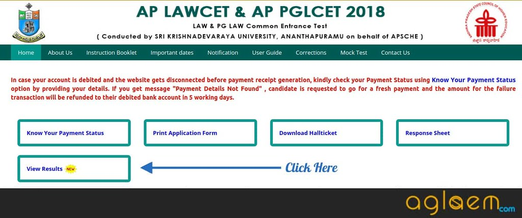 Result for AP PGLCET 2019