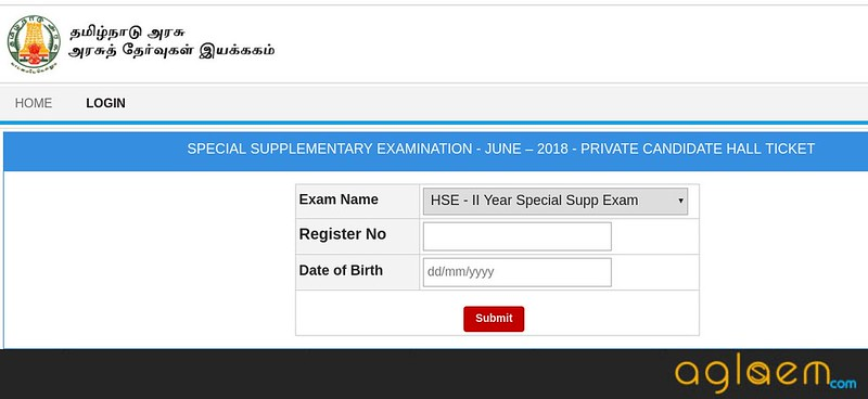 TN 12th Supplementary Hall Ticket 2018 for Private Candidates
