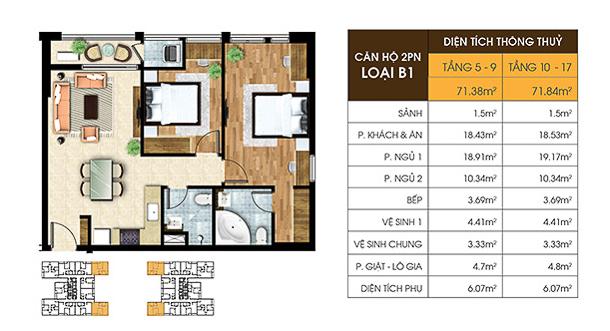 Mặt bằng căn hộ 2pn Jamona Heights