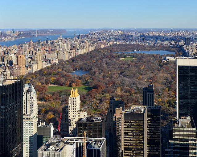 Vistas de Central Park de Nueva York desde el Top of the Rock