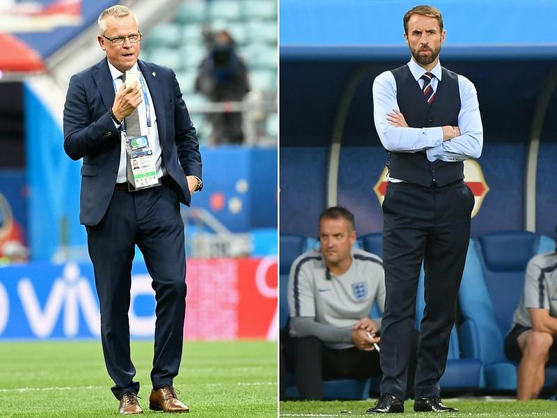 Southgate(右)領軍的英格蘭將在8強碰上不好惹的瑞典。(AFP授權)
