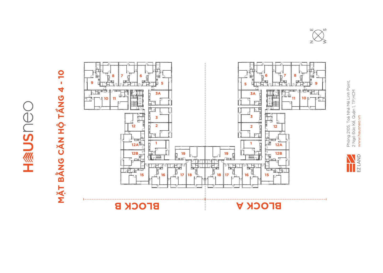 Mặt bằng tầng và thiết kế căn hộ Hausneo 37