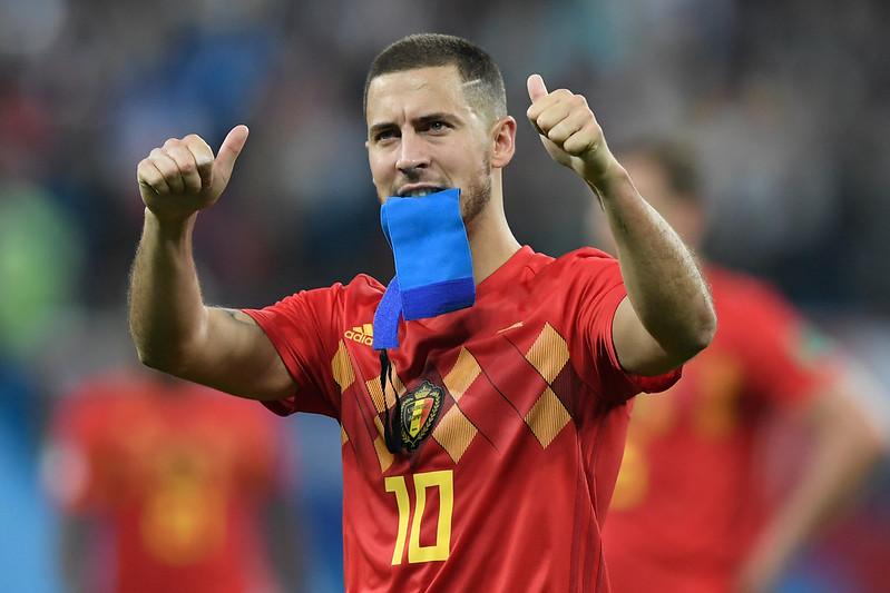 比利時隊長Eden Hazard賽後向球迷致謝。(AFP授權)