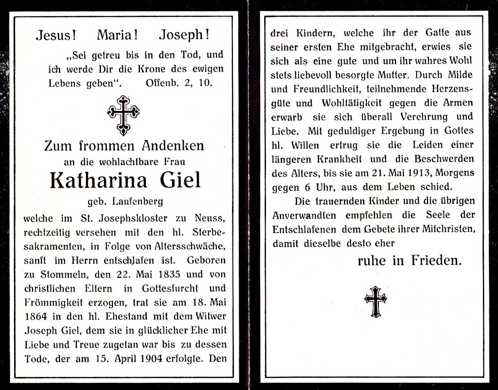 Totenzettel Laufenberg, Katharian † 21.05.1913