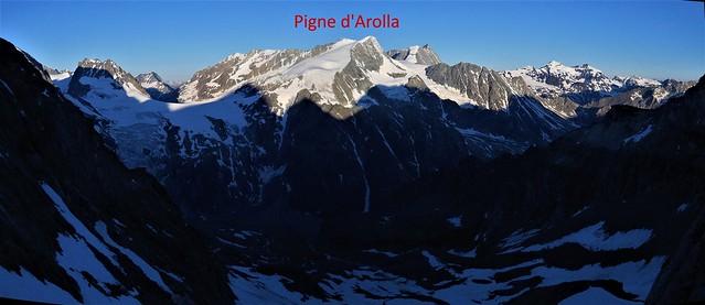 Pigne d'Arolla from Cabane Bertol at dawn