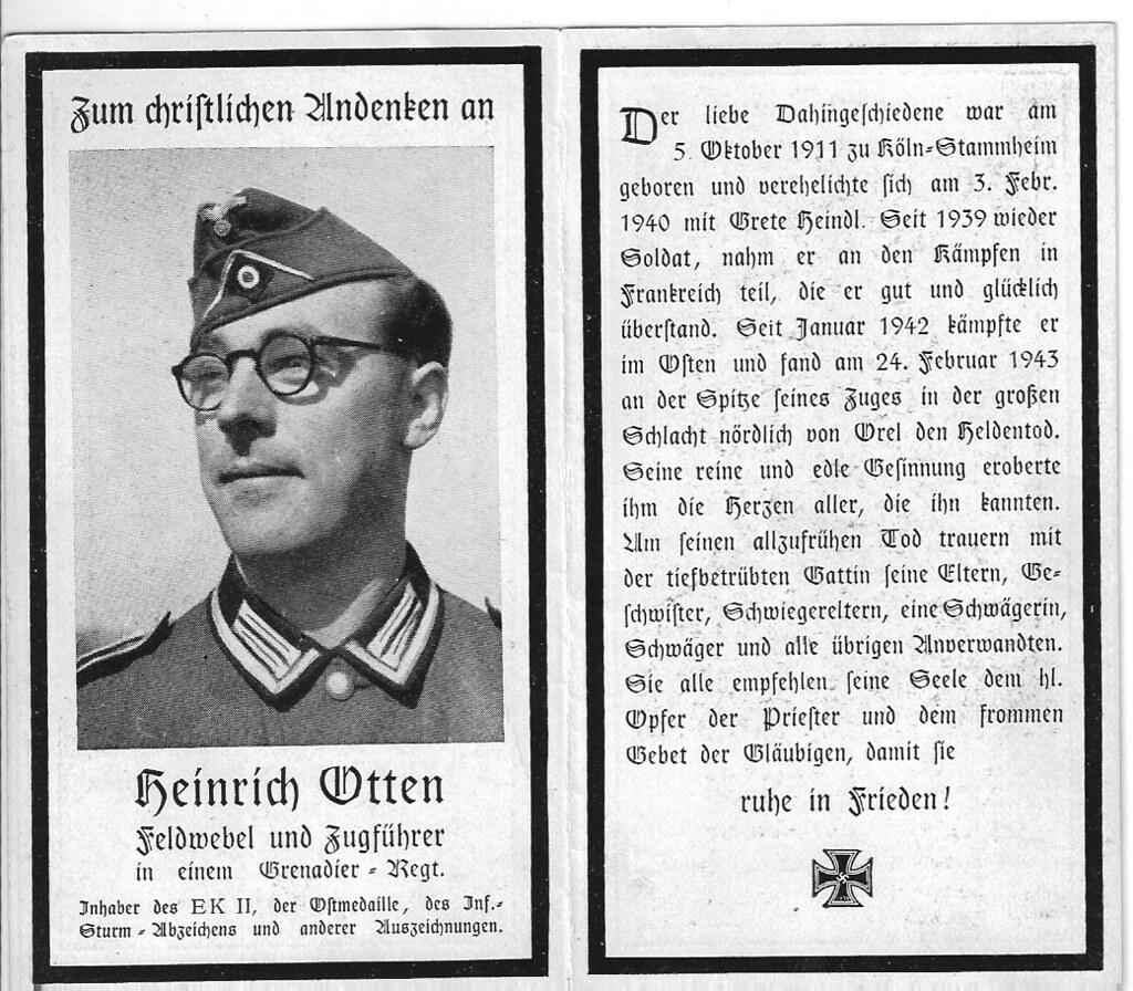 Totenzettel Otten, Heinrich † 24.02.1943