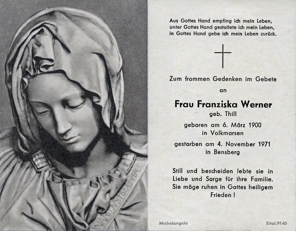 Totenzettel Werner, Franziska † 04.11.1971
