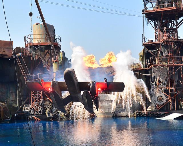 Momento de acción en el Parque de atracciones Universal Studios de Hollywood