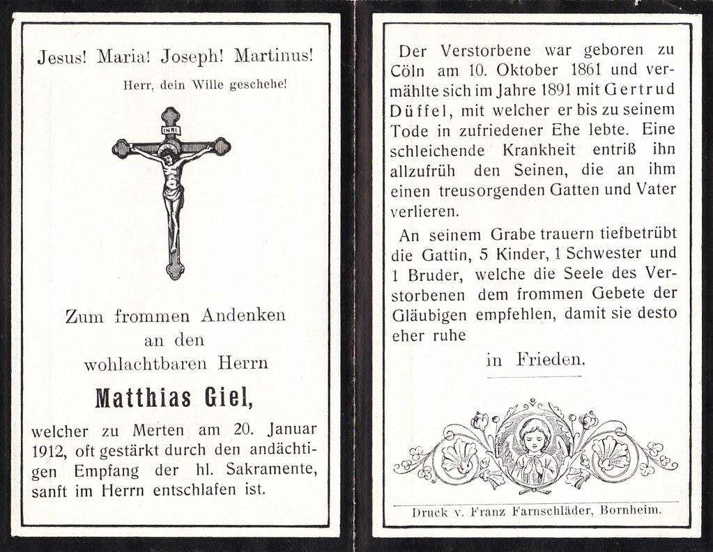 Totenzettel Giel, Matthias † 20.01.1912