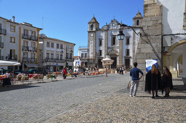 Students in Main square, Evora, Portugal