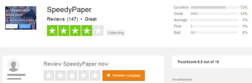 Speedypaper rating TrustPilot