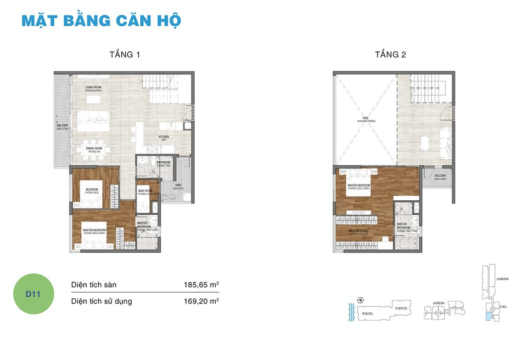 Mặt bằng căn hộ Duplex