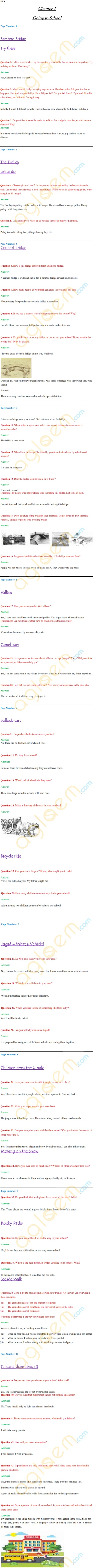 NCERT Solutions Class 4 EVS Chapter 1 Going to School