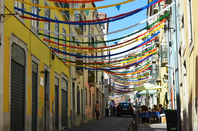 Party streets, Bairro Alto, Lisbon, Portugal