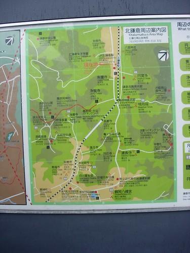 Mapa Kita Kamakura a Kamakura con los templos