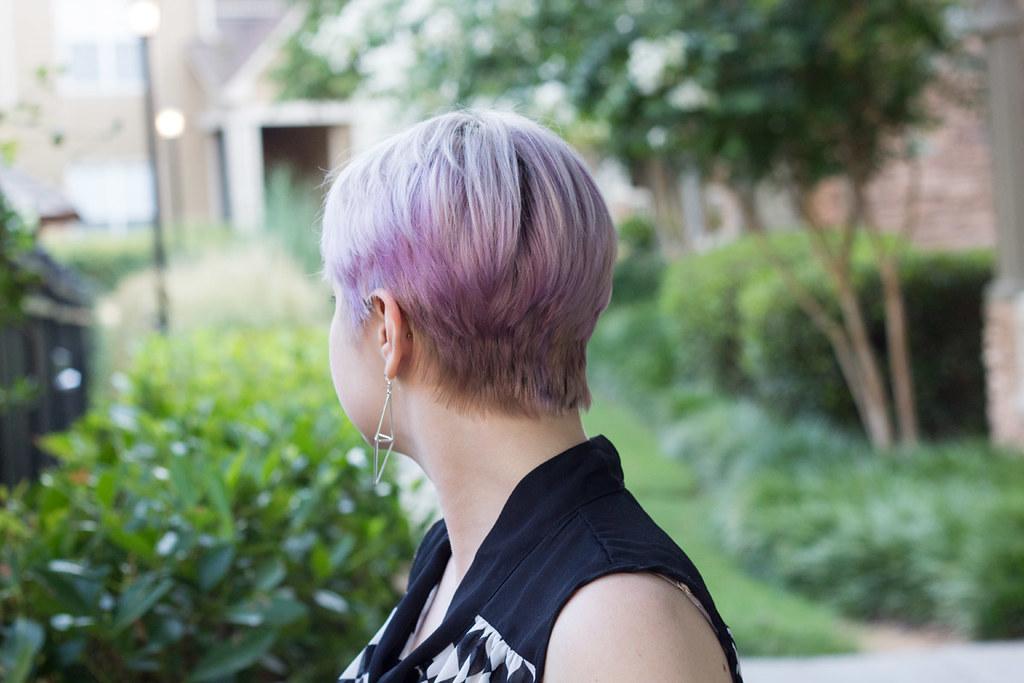 purple blonde pixie cut hair