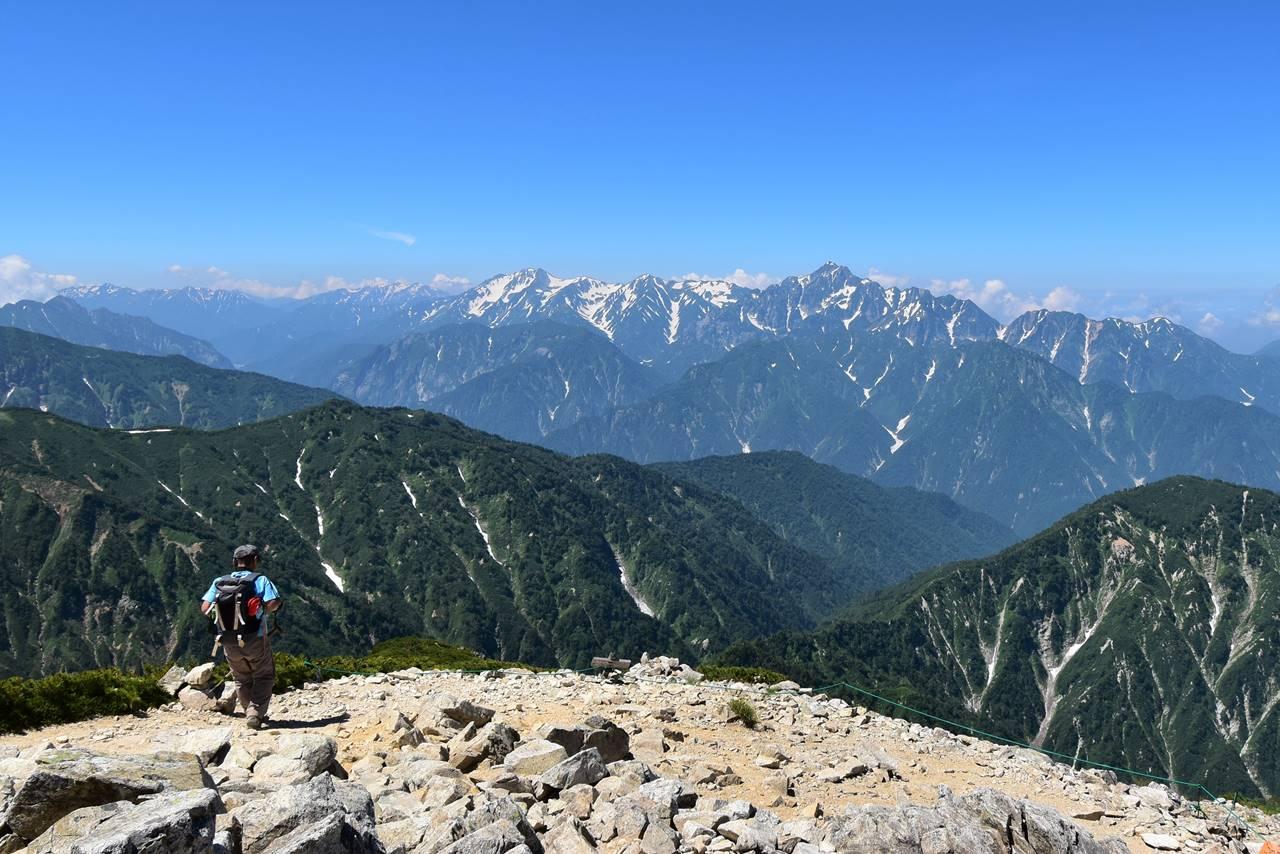 唐松岳山頂からの立山連峰~剱岳の展望
