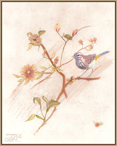 Image of a painted bird on a branch