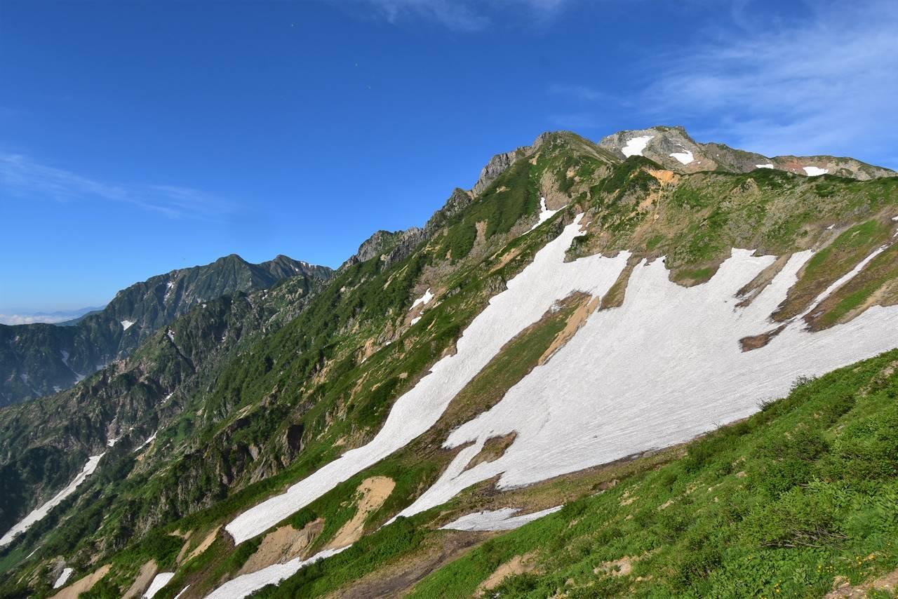 遠見尾根から見上げる五竜岳と鹿島槍ヶ岳