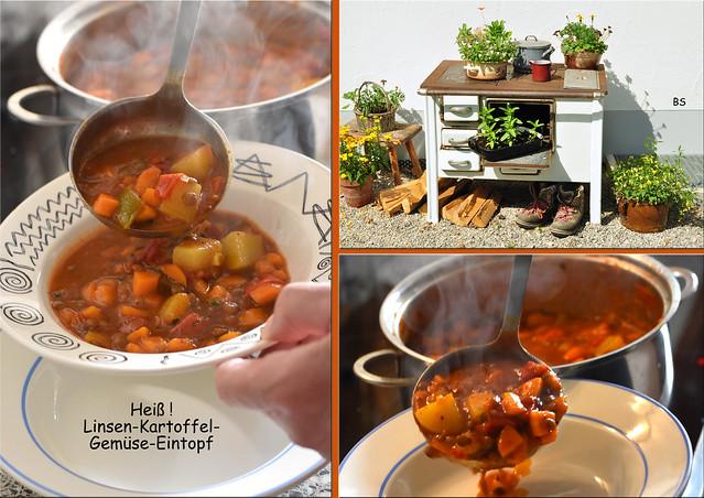 Linsen-Kartoffel-Gemüse-Eintopf ... heiß, lauwarm ... vegetarisch, vegan ... Fotos: Brigitte Stolle