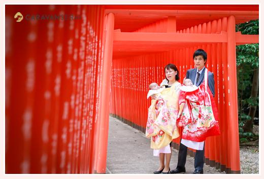 双子の姉妹の赤ちゃんのお宮参り(深川神社)/愛知県瀬戸市