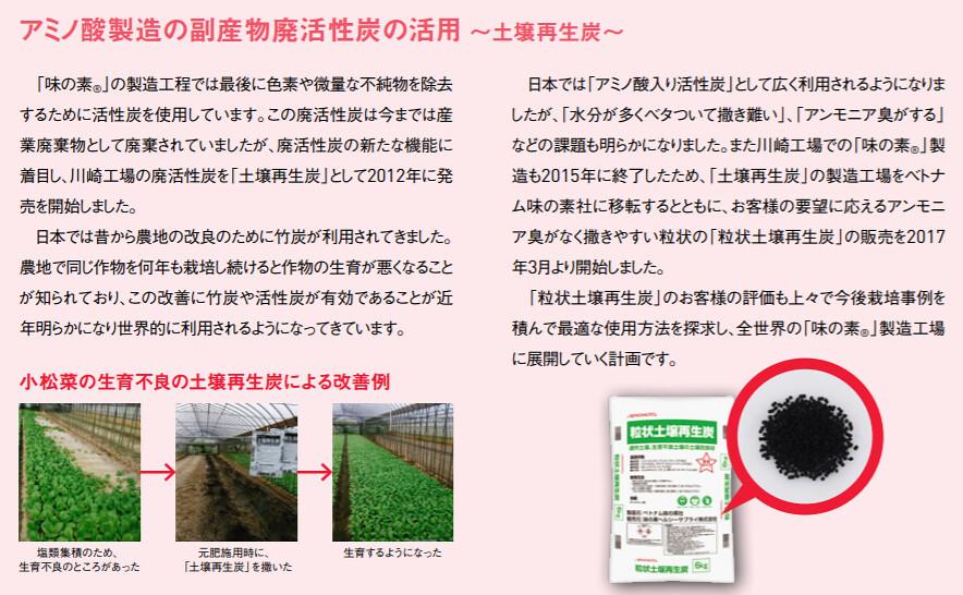 用過的活性碳再利用變成土壤再生炭。資料來源:味之素永續報告書