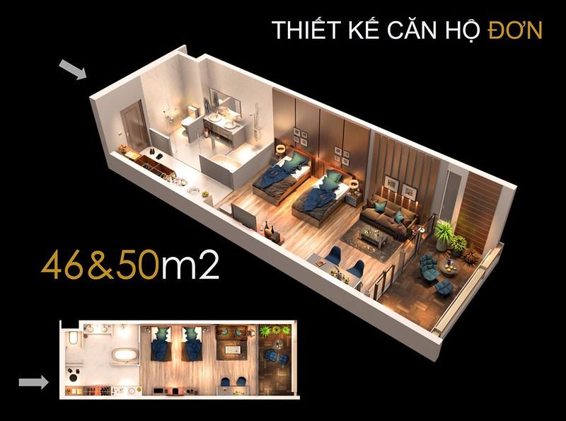Thiết kế căn hộ đơn 46&50 m2